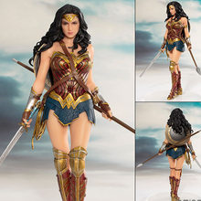 Dc heróis maravilha mulher figura brinquedos boneca 19cm dc liga da justiça artfx maravilha mulher estátua coleção modelo figura de ação brinquedos