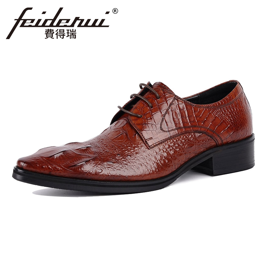 Luxury Alligator Men's Wedding Party Footwear Genuine Leather Pointed Toe Derby Man Flats Formal Dress Party Office Shoes YMX67 2015 italian luxury alligator fashion mens dress shoes genuine leather with buckle black flats for man wedding party office 979