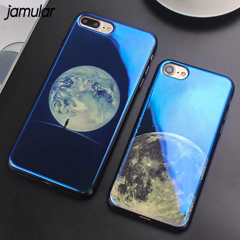 JAMULAR Planeet Silicone Soft Cover voor iPhone X XS MAX XR Case Blue Ray Plating Telefoon Case voor iPhone 6 6 s 7 8 Plus Covers Cases