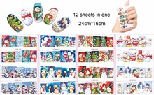 Most popular cheap water transfer BN nail sticker for 12 Sheets Christmas 3D Nail Art Stickers Snowflakes & Cute Snowmen Decals