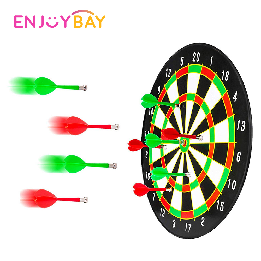 Enjoybay Magnetic Darts Board Toy Safety Magnet Dartboard Target Game Toy With 2 Darts Party Game EVA Soft Hollow Hole Head
