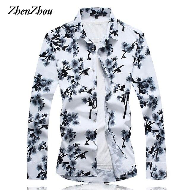 dc8f0d66b5e Long Sleeve Shirt Men Slim Fit Floral Print Plus Size Casual Social White  Shirt Dress Male Hawaiian Shirt Mens M-6XL 7XL