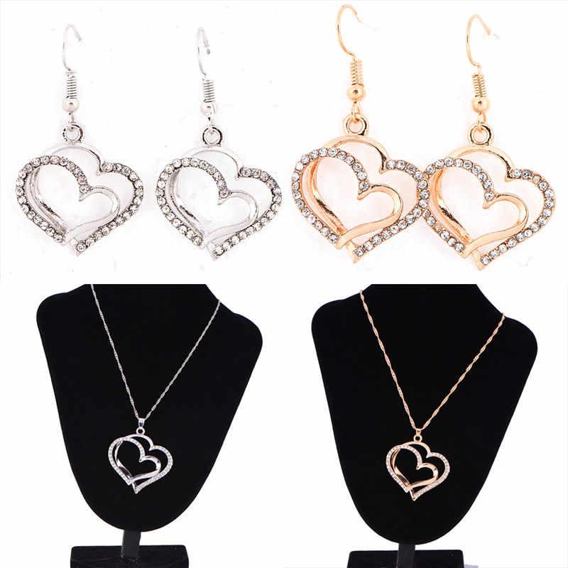 Liebhaber Geschenk Herz Form Rose Gold Farbe Österreichischen Kristall Ohrringe und Anhänger Halskette Schmuck-Set