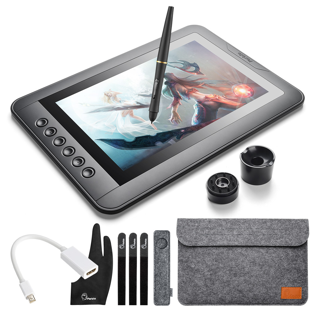 Parblo Mast10 10.1 6 Touches Tablette Graphique Dessin Moniteur avec Batterie-moins Passive Stylo + Mini DP à HDMI Adaptateur pour Mac/Windows