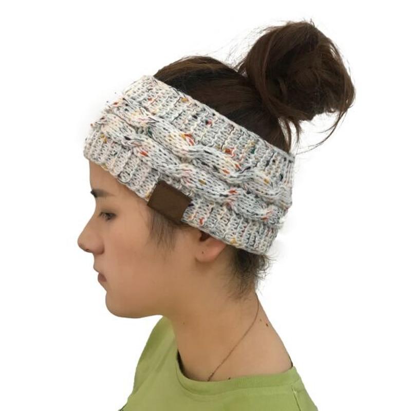 XEONGKVI 2018 New Twist knitting hair band Brand Winter Empty Head Skullies Beanies Knitted Hats For Women And Girl 56-60cm