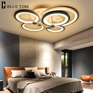 Image 4 - White&Black Modern LED Chandelier Lustre For Living Room Light Bedroom Dining room Acrylic Ceiling Chandelier Lighting Luminaire