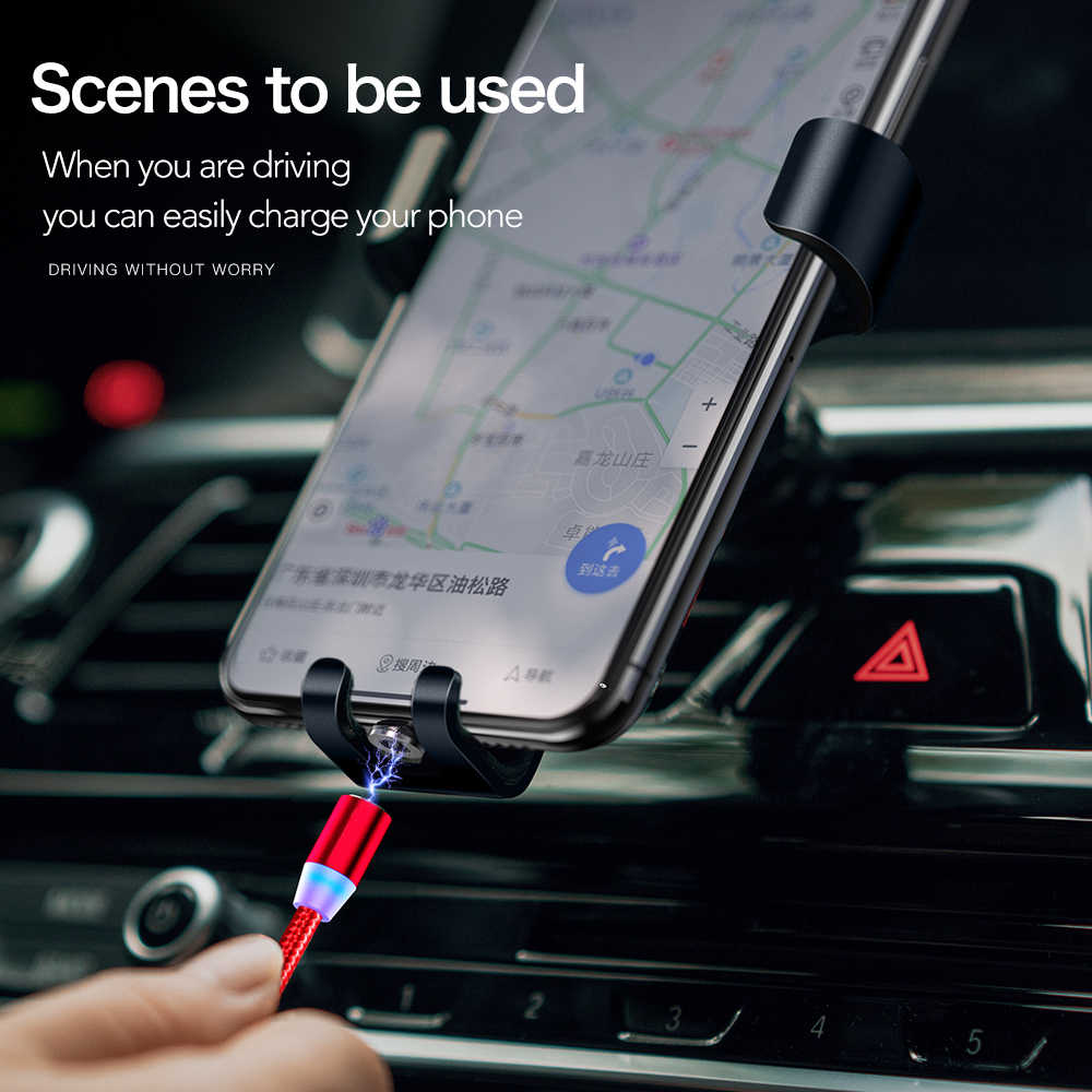 2M LED Magnetik Cepat Pengisian Kabel untuk iPhone XR X Max X 8 7 6S Plus Micro USB tipe-C Magnetic USB Ponsel Charger Kabel Kawat