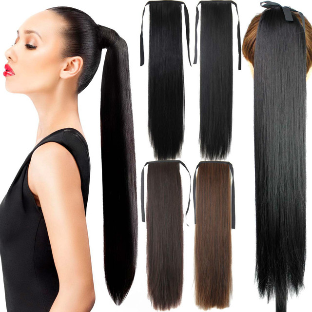 70CM 28inch long straight hair ponytails heat resistant synthetic hair extensions hairpieces