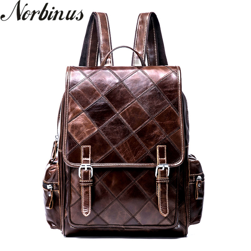 Norbinus Women Backpack Genuine Leather School Bags for Teenagers Girls Female Leather Laptop Backpacks Rucksack Travel Bags fashion women leather backpack female backpacks school bags for teenagers girls daily backpack travel shoulder rucksack feminina