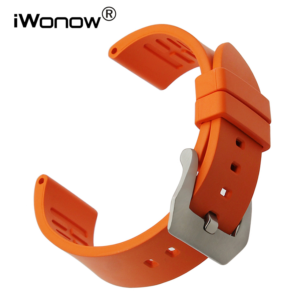 22mm Fluororubber Watchband for Pebble Time / Steel Moto 360 2 46mm Men Rubber Watch Band 316L Steel Buckle Strap Wrist Bracelet