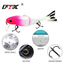 FTK Minnow Bass Fishing Lure 1pcs/lot 95mm 13g Crankbait Topwater Floating Artificial Assorted colors Hard Wobblers