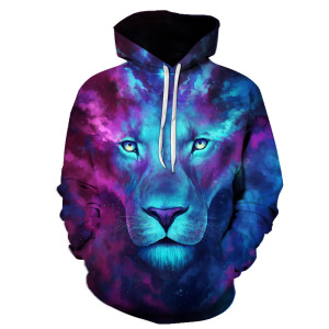 Image 1 - 2019 Animal print hooded Sweatshirts Purple green yellow Lion head 3D Hoodie Female Male Autumn Pullover Xxxtentacion Tracksuit
