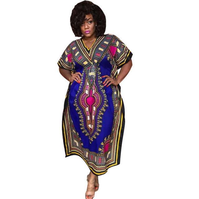 49e02128915 African Print Dresses Women Fall 2018 Short Sleeve Fashion Tribal Dress  Traditional African Clothing Attire Long Dashiki Dress