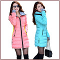 Free shipping 2015 New women Long Slim Solid Zippers Down Lady Girl Black Red Pink Blue Parkas with Hat