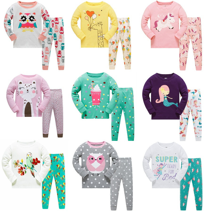 Floral Children   Pajamas     Sets   Girls Clothing 2pc Suit Sleepwear Night Robe nightdress kids household clothes Cotton PJS