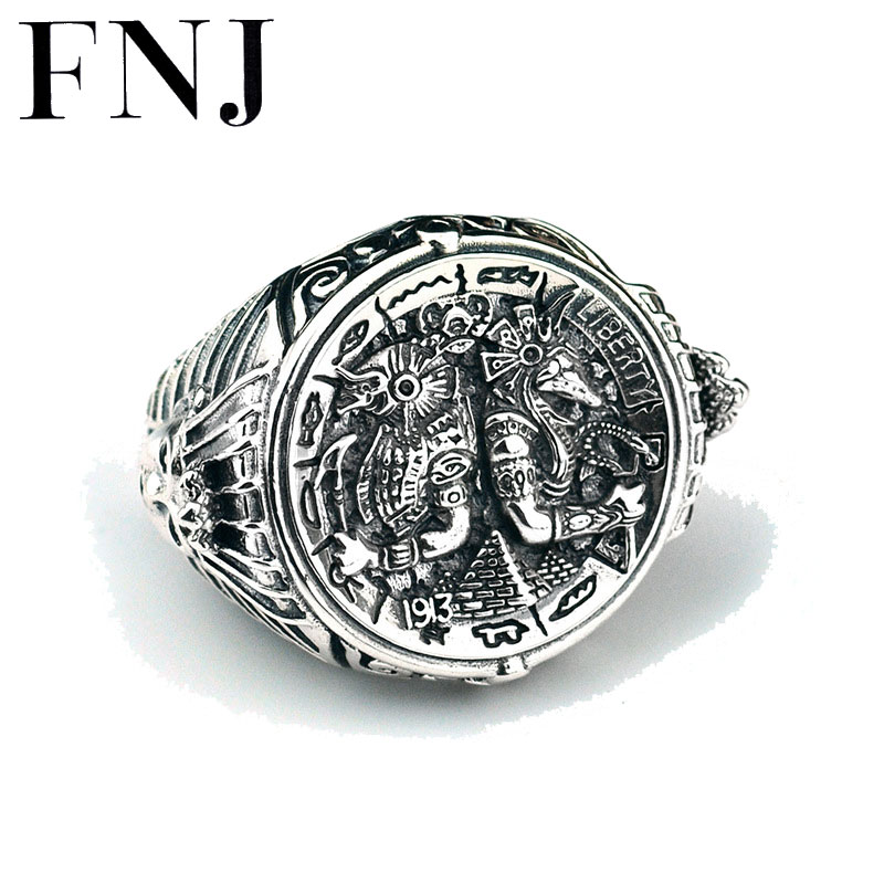цена на FNJ 925 Silver Big Ring Ancient Egypt New Fashion Original S925 Sterling Silver Rings for Men Jewelry Adjustable Size USA 8-13