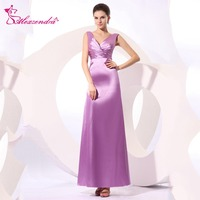 Alexzendra Violet A Line Double V Neck Pleats Long Bridesmaid Dress for Wedding Party Gown Bridesmaid Gown Plus Size
