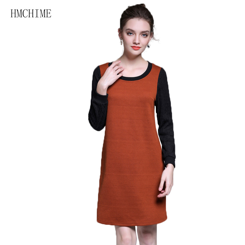 Plus size L-5XL women knitted dress hollow out lace thread convergent long sleeve woman dresses fit for obeses ladies HM932 4 colors plus size women lace dress 2016 summer style hollow out sexy dress o neck sheath dresses half sleeve
