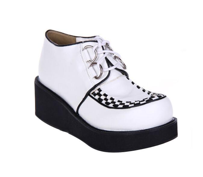 Haute Cosplay Chaussures Style Angéliques Pompes Fille Légales Femme Bagatelle Femmes Robe Princesse Punk Mentions Lady Talons Japon Lolita Blanc 46 Mori vt8q7tw