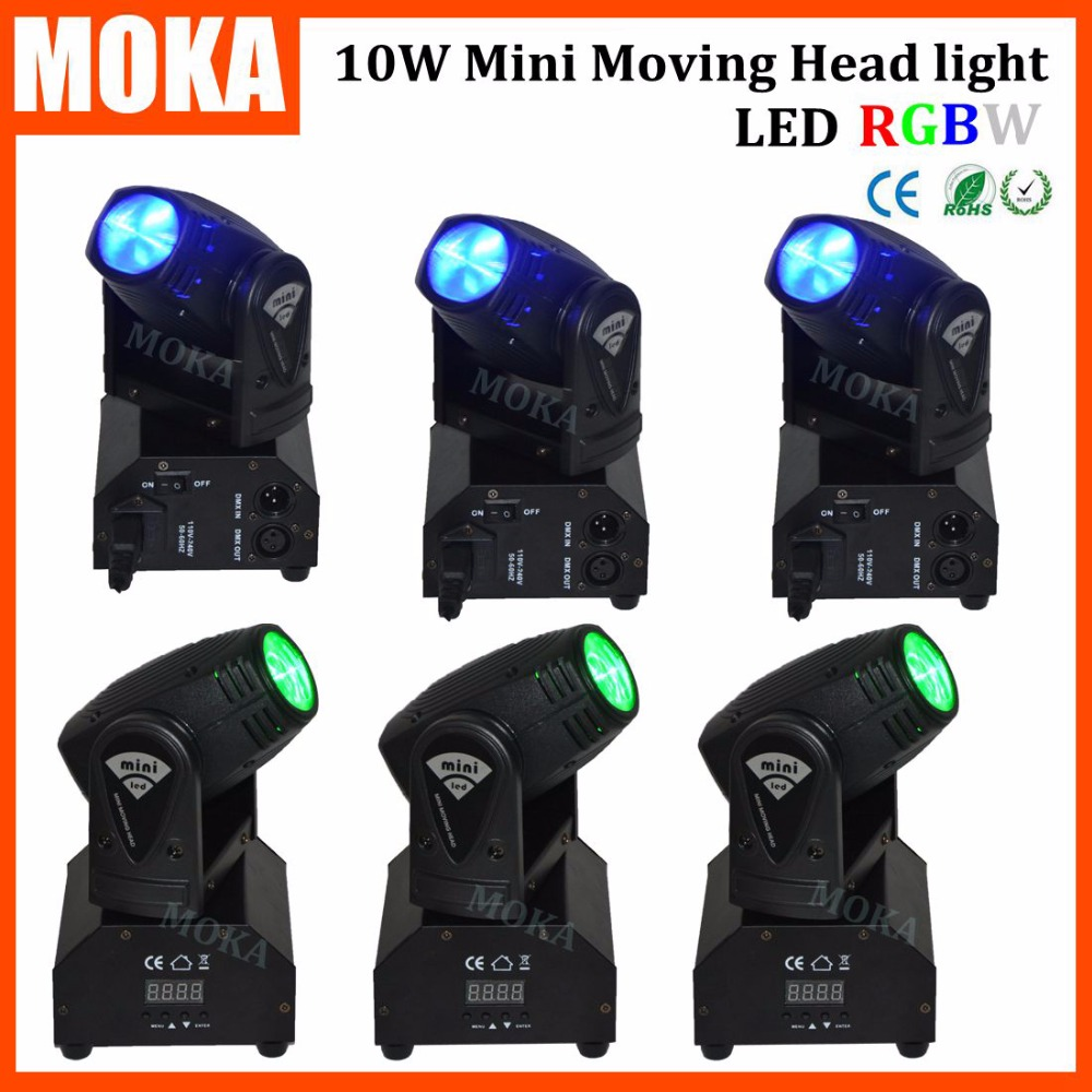 6PCS/LOT Voice Sound DMX512 Control Small 10W Spot Led RGBW 4 IN 1 Dj Light Pan 540 Degree Tilt 270 Degree тарелка под пасту 25 5 см royal porcelain тарелка под пасту 25 5 см