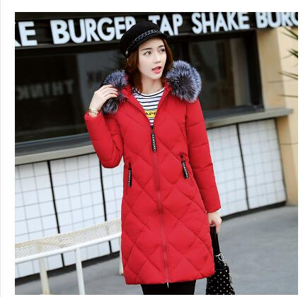 все цены на  2017 Winter new women fashion casual hooded cotton women in the long section of thickening down jacket Korean version of the Sli  онлайн