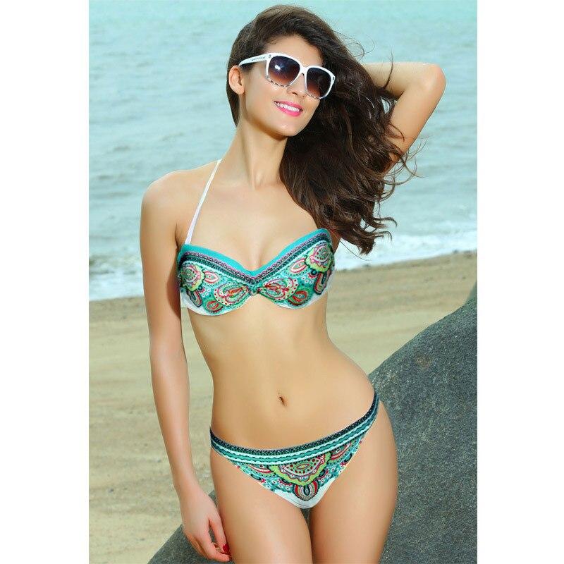 46fae307bb B070 VS Secret Bandeau Top Print Bikini Set Swimwear Sexy Swimsuit For  Women Biquini Brazilian Beach wear Bathing Suits 2017-in Bikinis Set from  Sports ...