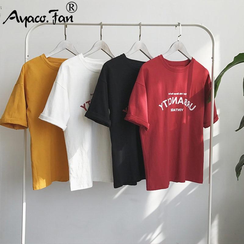 Harajuku kobiet t-shirty nowy 2019 lato zabawny napis druku Hip Hop luźny t-shirt dziewczyny Student Streetwear w stylu casual, damska topy Tees 2