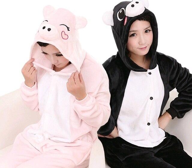 Кигуруми теплый Аниме Костюм Черный Розовый Свинья комбинезоны пижамы  спальный костюм для взрослых косплэй домашняя одежда 129dcc056a30d