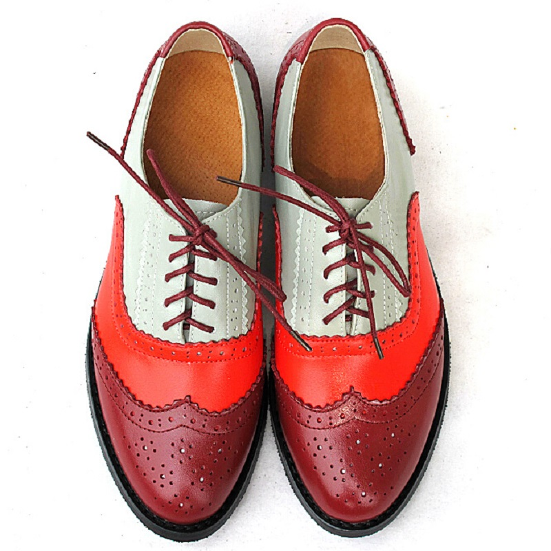 ФОТО Size 34-43 New 2016 Fashion Vintage Women Flat Lace Up Brogue Oxford Shoes For Ladies Casual Flat Shoes