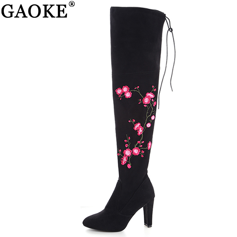 Embroidery Flower Boots Women Autumn Winter Boots Fashion Lady High Heel Long Over Knee Boots Embroidered Shoes Size 34-43 Black plus size 34 43 autumn winter genuine leather women flower shoes lady high heel long boots embroidered over knee high snow boots