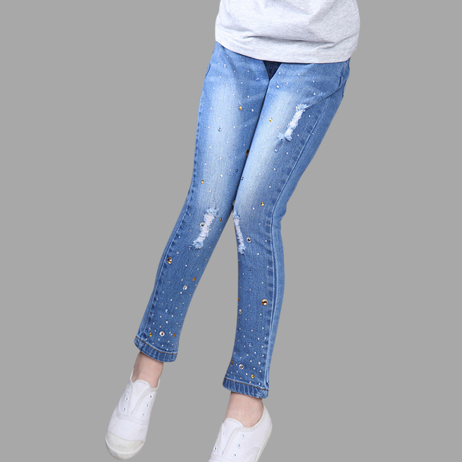 Girls Jeans 2018 Plus Size Baby Girls Pants Slim Skinny Kids Leggings Cotton Casual Children Girls Clothes 6 8 10 12 14 Year casual mid waisted frayed skinny ripped jeans for women page 6
