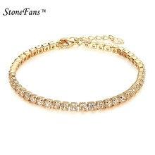76797e3a4d2 StoneFans CZ Crystal Tennis Bracelet Zircon Bracelet Bangle Chains Crystal  Gold Strand Bracelets For Women Female Jewelry 2018
