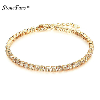StoneFans CZ Crystal Tennis Bracelet Zircon Bracelet Bangle Chains Crystal Gold Strand Bracelets For Women Female Jewelry 2018
