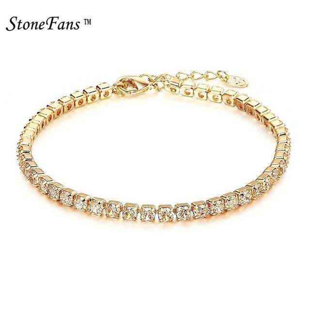 StoneFans Fashioh Pha Lê Tennis Bracelet Zircon Hạt Bracelet Bangle Chains Strand Vòng Đối Với Phụ Nữ Pulseiras Bijoux Quà Tặng