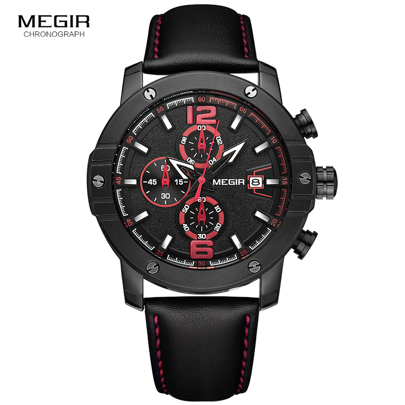 Megir Chronograph Leather Strap Sport Quartz Watches for Men Fashion Man Luminous Calendar Wrist Watch 2046G Big Round Dial casual leisure sport men s mechanical wrist watch leather strap tourbillon calendar display luminous night light big crown