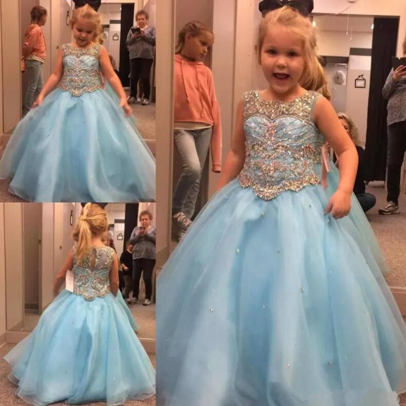 2018 Newest Light Sky Blue Girls Pageant Gown A Line Crystals Beaded Kids Formal Wear Gowns Flower Girl Dress Custom Made ball gown sky blue open back with long train ruffles tiered crystals flower girl dress party birthday evening party pageant gown