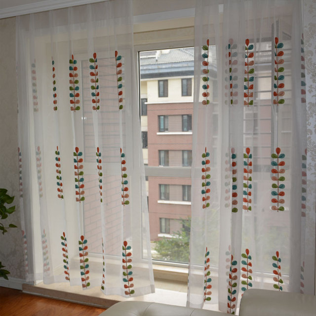 Pastoral White Cotton Line Embroidered Color Leaves Voile Sheer Curtains For Living Room Tulle The