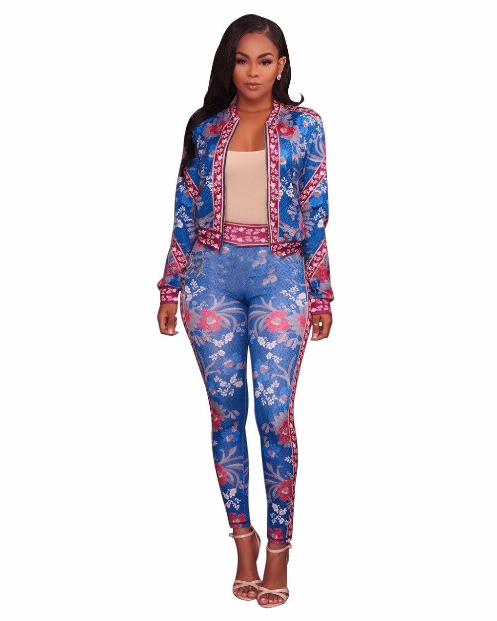 Vintage Floral Print Zipper Up Long Coveralls Women Jacket Top Full Length Pant 2 Piece Set Jumpsuit Plus Size Skinny Romper 3XL