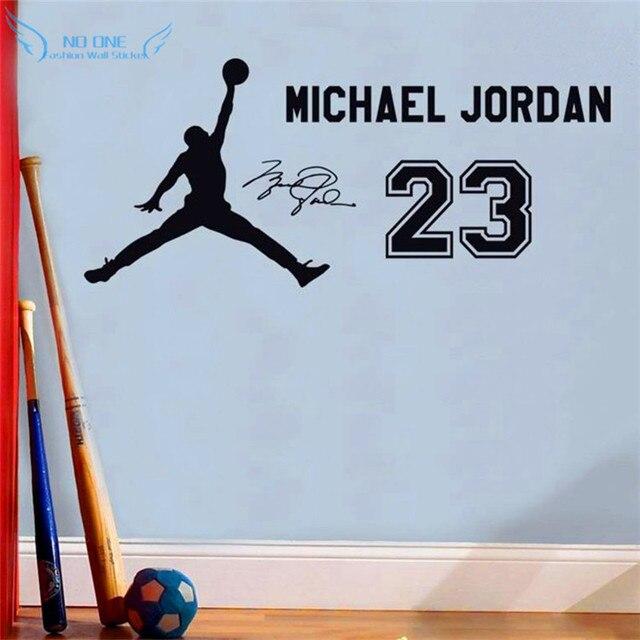 nouvelle collection aa684 32796 € 10.4 18% de réduction|Michael Jordan 23 vinyle Stickers muraux enfants  aiment basket idole personnage affiche enfants chambre mur Art décoration  ...