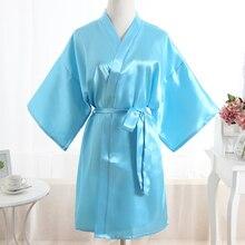 Новое поступление, синий, искусственный шелк, женское кимоно,, однотонный халат, ночная рубашка, Женская весенне-осенняя домашняя повседневная одежда, один размер JA30