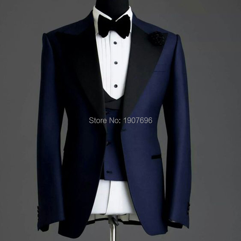 Navy Blue Slim Fit Man Suits For Wedding Groom Tuxedos Black Peaked Lapel 3 Piece Male Suit Set Jacket Pants Vest Formal Style