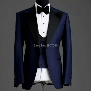 Navy Blue Slim fit Man Suits for Wedding Groom Tuxedos Black Peaked Lapel 3 Piece Male Suit Set Jacket Pants Vest Formal Style - DISCOUNT ITEM  20% OFF All Category