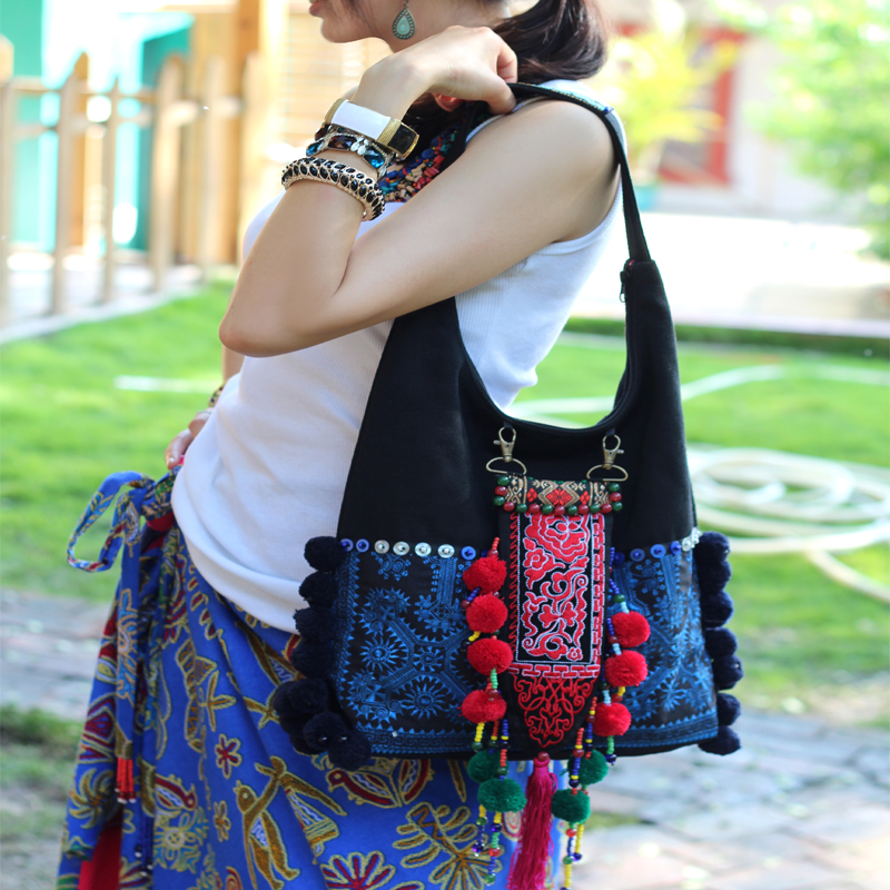 HOT Original Folk embroidered black canvas women handbags Vintage handmade beaded Pompon blue and white porcelain shoulder bags original ethnic embroidered women handbag vintage handmade tassel shoulder bags black canvas casual large bags