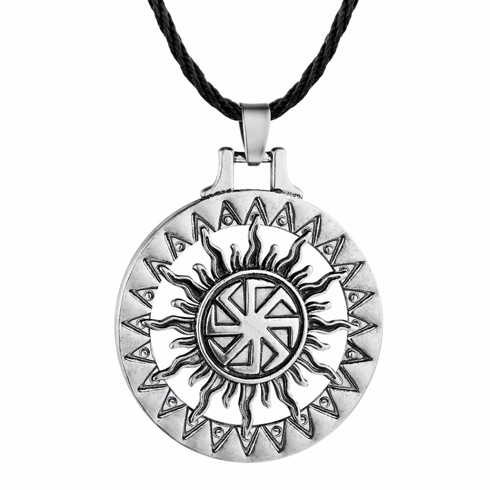 Vintage Pagan Nordic Viking Axe with Slavic God SVARGA Pendant Talisman Necklace
