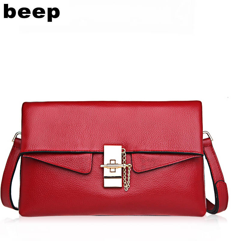 Beep Brand 2017 New Superior cowhide Luxury fashion Genuine Leather bag Clutch women leather shoulder messenger bag women's bag beep 2018 new superior cowhide fashion women genuine leather bag simple women leather shoulder bag women s bag