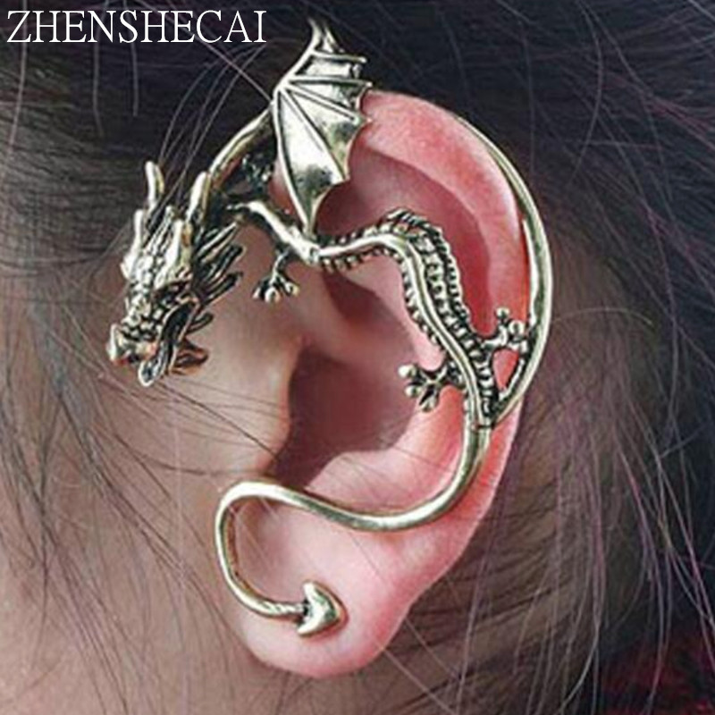 Wholesale New Fashion Exaggeration Punk Unicorn Dragon Ear Cuff Clip Earring For Women Vintage Jewelry Handmade E0387