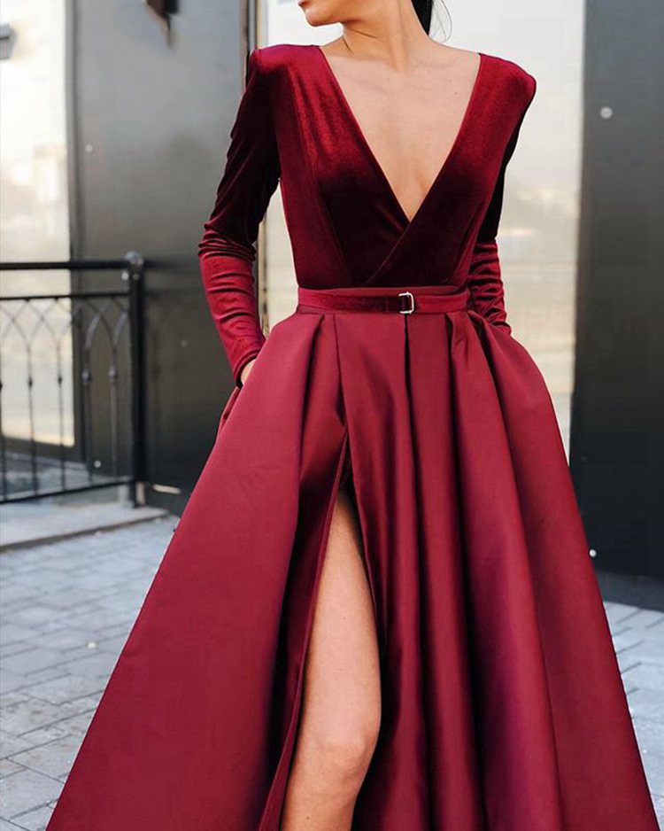 Long Prom Dresses 2019 Sexy Deep V neck Long Sleeve High Slit African Girl Burgundy Velvet Prom Dress - 2