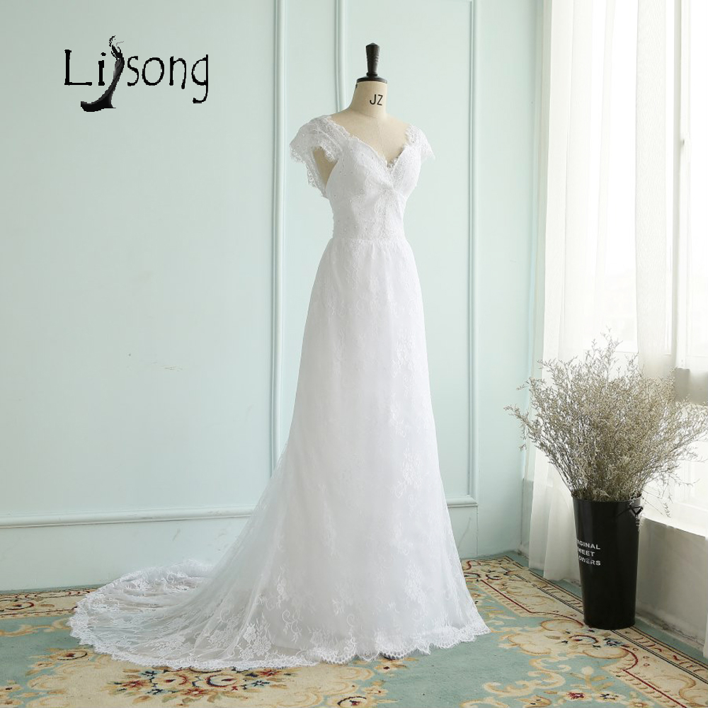 simple white lace wedding dresses long vestido de noiva robe de mariee short sleeves high waist