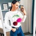 2017 Spring Hoodies & Sweatshirts Women Colorful Cherry Plush Ball Long sleeve O-neck Causal Tracksuit Ladies Bts Women Hoodies