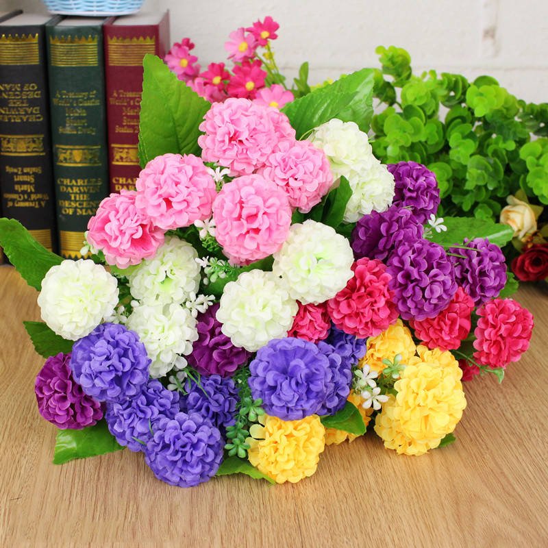 2019 Exquisite Fake Flowers Multi-colored Beautiful Home Decoration Fragrant Chrysanthemums Plastic, Wire 8 Hydrangea Artificial